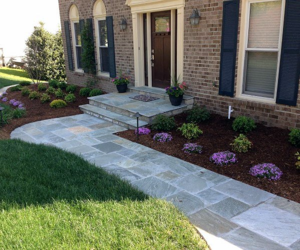Front Yard Outdoor Ideas For Flagstone Walkway