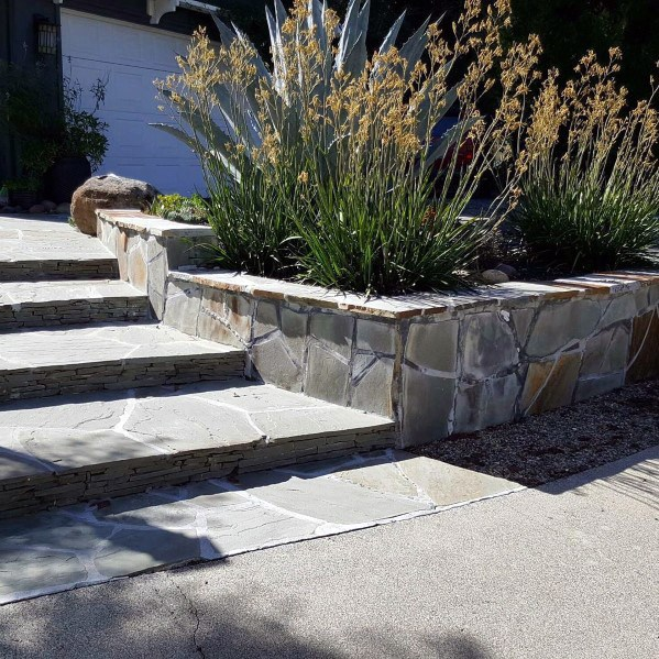 Front Yard Steps Flagstone Walkway Ideas Inspiración