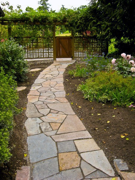 Backyard Flagstone Walkway Ideas frescas al aire libre