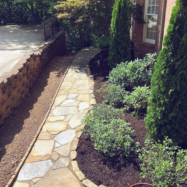 Side of House Exceptional Flagstone Walkway Ideas