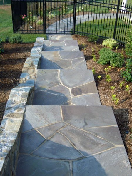 Sleek Sloped Flagstone Stairs Walkway Ideas