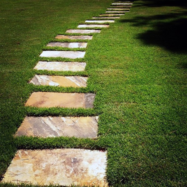 Stepping Stones Grass Flagstone Walkway Ideas al aire libre