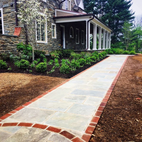 Unique Red Brick And Flagstone Walkway Designs
