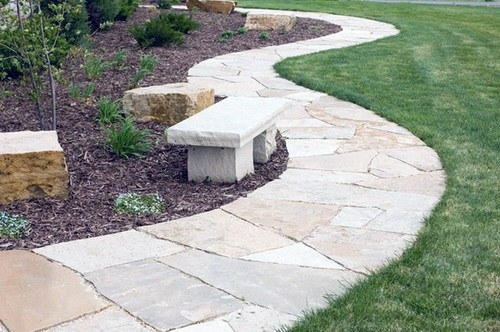 Curved Backyard Flagstone Walkway Design Ideas