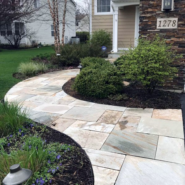 Curved Front Yard Designs Flagstone Walkway
