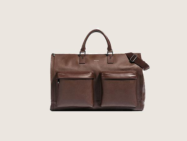 Hook And Albert Leather Garment Weekender Bag For Men