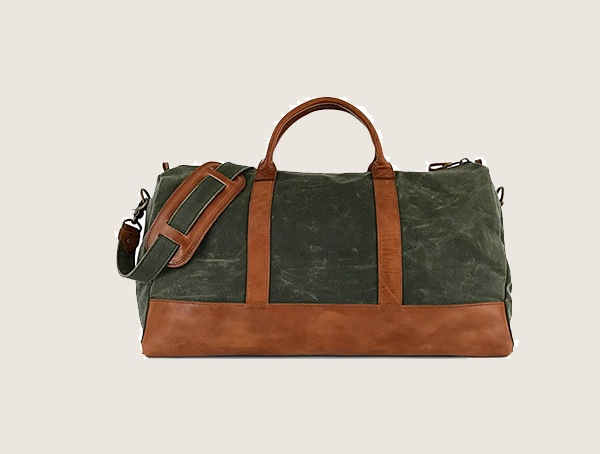 Jackson Wayne Waxed Canvas Full Grain Leather Weekender Bag For Men