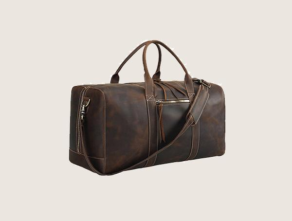 Polare Mens Full Grain Leather Overnight Travel Weekender Bag For Men