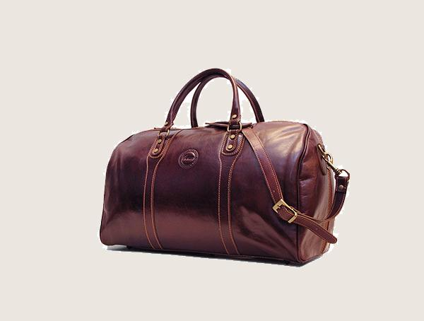 Cenzo Vecchio Brown Italian Leather Travel Weekender Bag Mens