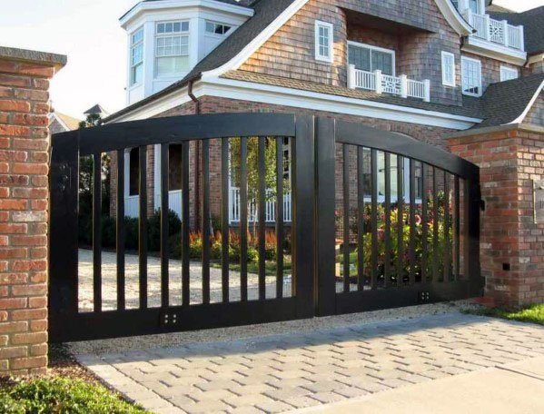 Stained Black Wooden Gate Design Inspiration