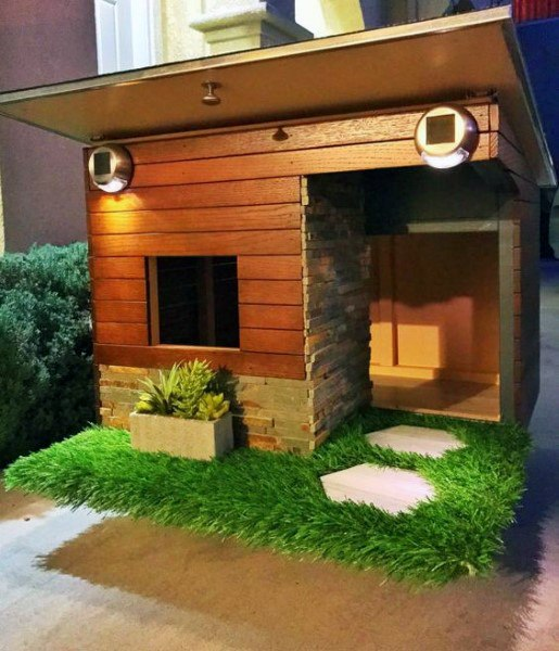 Turf Grass With Wood Construction And Stone Cool Dog Houses