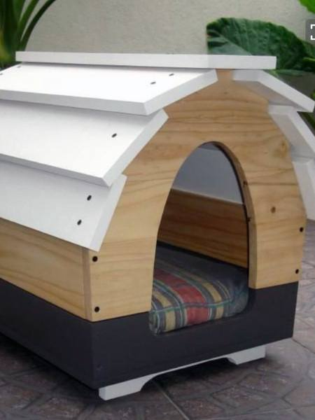 White And Wood Cool Dog Houses Curved Roof
