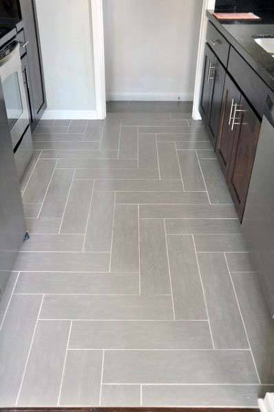 Grey Pattern With White Grout Excellent Interior Ideas Kitchen Tile Floor