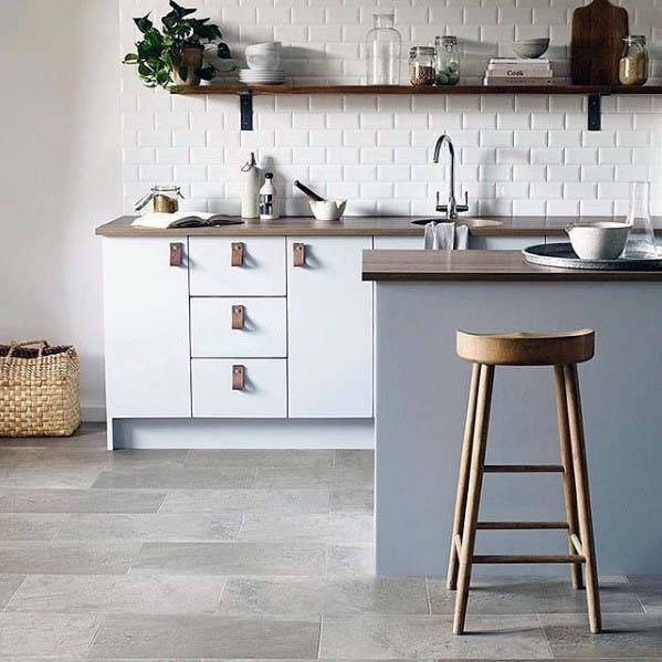 Grey Rectangle Home Ideas Kitchen Tile Floor