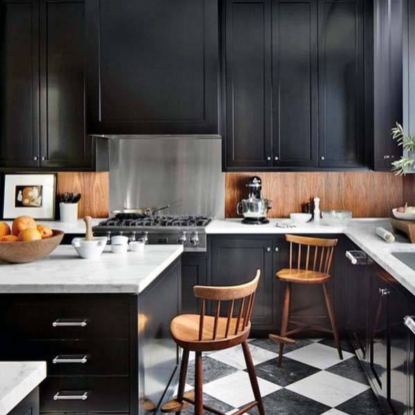 House Kitchen Tile Floor Ideas Checkered Diamond Black And White