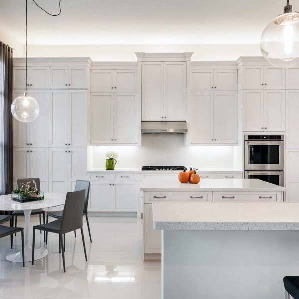 White Glossy Luxury Kitchen Tile Floor