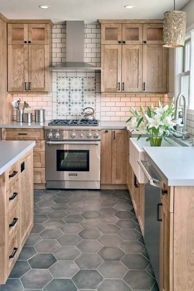 Grey Hexagon Pattern Home Kitchen Tile Floor Ideas