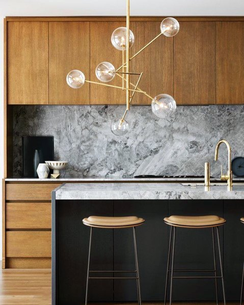 Gold Contemporary Fixture Home Interior Designs Kitchen Island Lighting