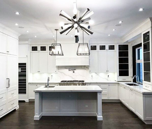 Star Chandelier With Large Pendants Over Island Ideas For Kitchen Lighting