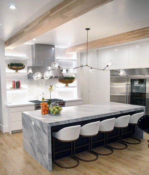 Contemporary Glass And Metal Long Interior Ideas Kitchen Island Lighting