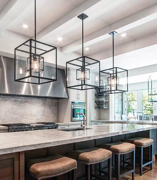 Giant Black Square Chandeliers Kitchen Island Lighting Design Idea Inspiration