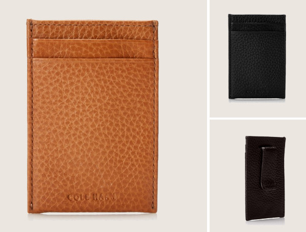 Cole Haan Pebbled Leather Mens Minimalist Wallet With Money Clip