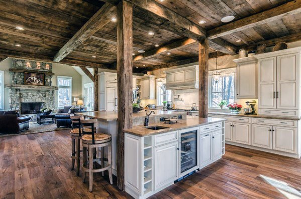 Kitchens Interior Ideas For Rustic Ceiling