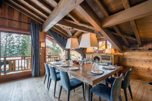 Cabin Rustic Ceiling Home Ideas Dining Room