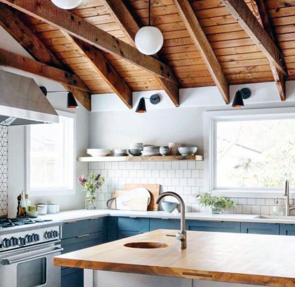 Kitchen Vaulted Wood Luxury Rustic Ceiling