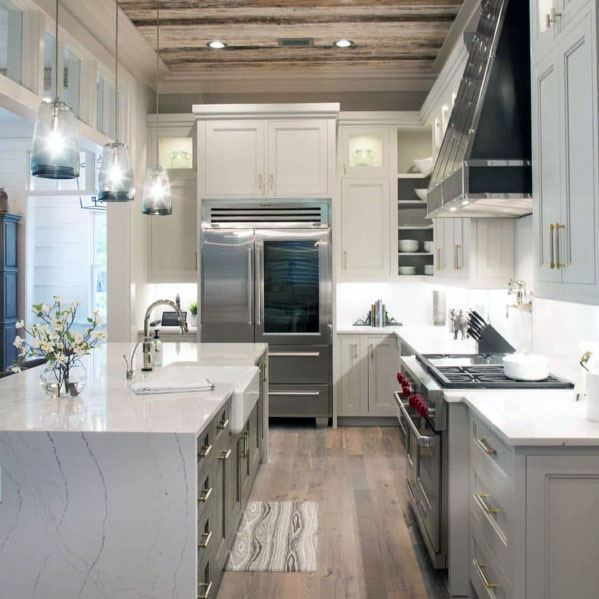 Kitchen Wood Interior Designs Rustic Ceiling
