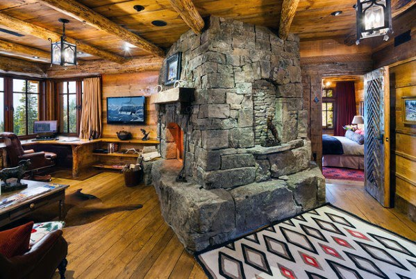 Log Cabin Fireplace Living Room Designs Rustic Ceiling