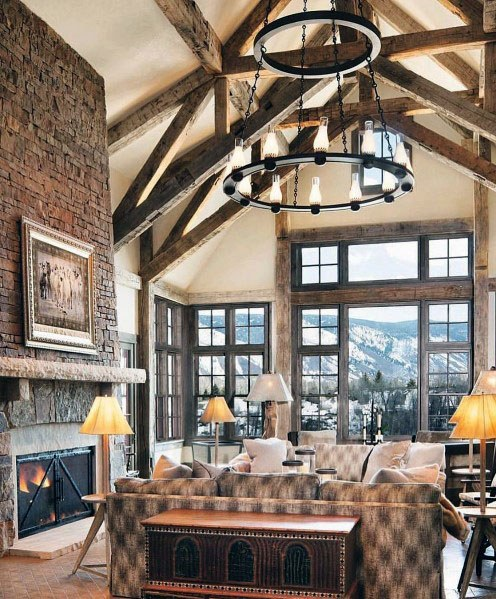 Rustic Ceiling Vaulted Living Room Design Ideas