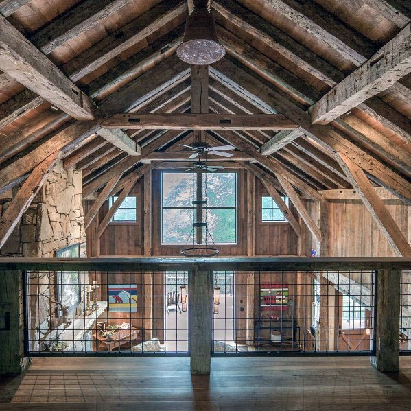 Two Story Cabin Home Design Ideas Rustic Ceiling