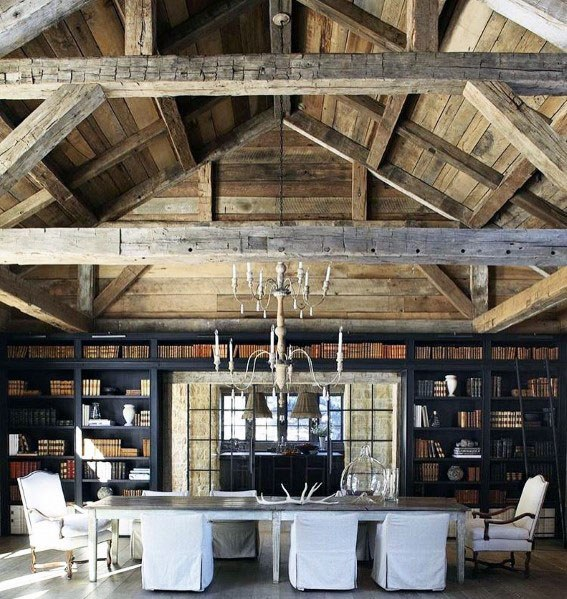 Vaulted Dining Room Nice Rustic Ceiling Interior Ideas