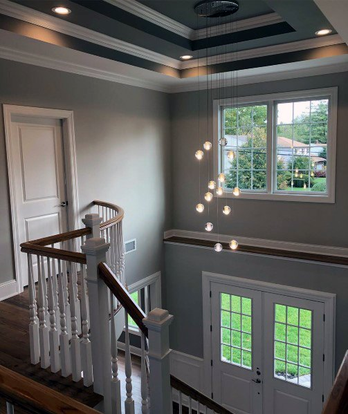 Foyer Staircase Magnificent Trey Ceiling Design Ideas