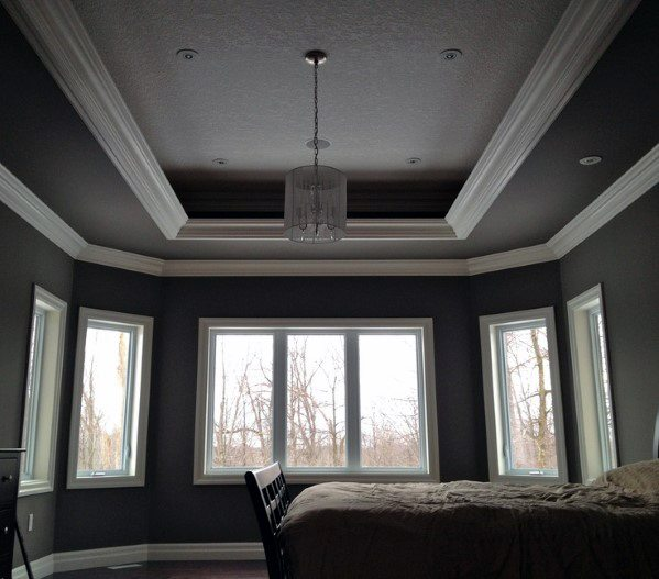Grey And White Painted Bedroom Trey Ceiling Ideas
