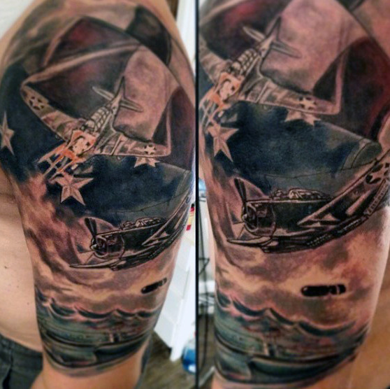 Fighter Jet ja amerikkalainen lippu Eagle Tattoo For Men