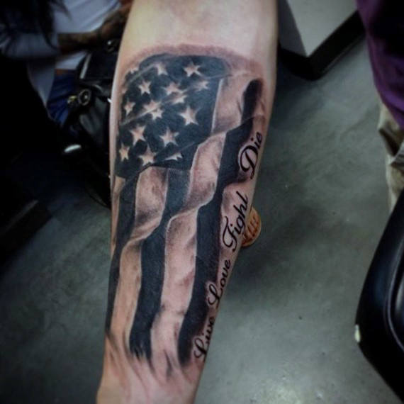 Kyynärvarren tatuoinnit American Flag For Men
