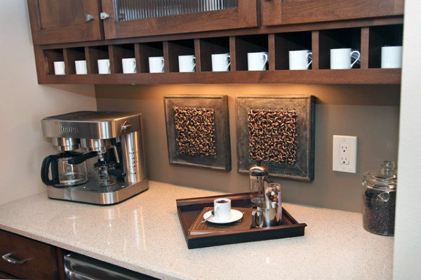 Countertop Coffee Bar Ideas With Mug Storage
