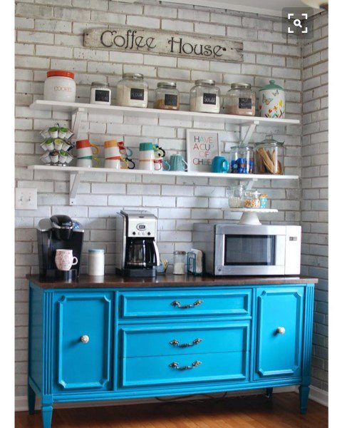 Blue Cabinet Coffee Bar Ideas