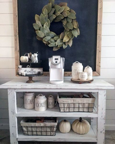 Rustic Simple Shiplap Walls Coffee Bar Ideas