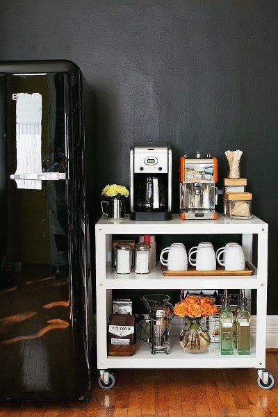 Simple White Rolling Cart Coffee Bar Ideas