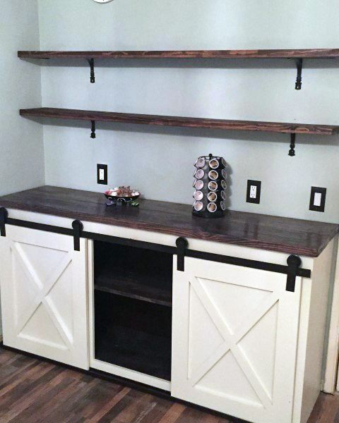 Sliding Barn Door White Cabinets Coffee Bar Ideas