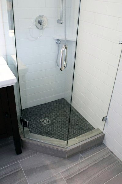 Small Simple Glass Corner Shower Ideas