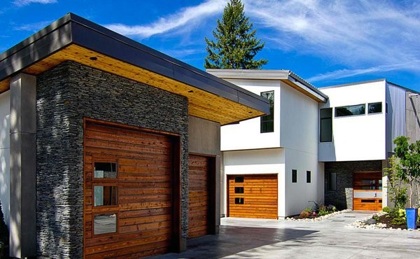 Modern Stone And Wood Detached Garage Ideas