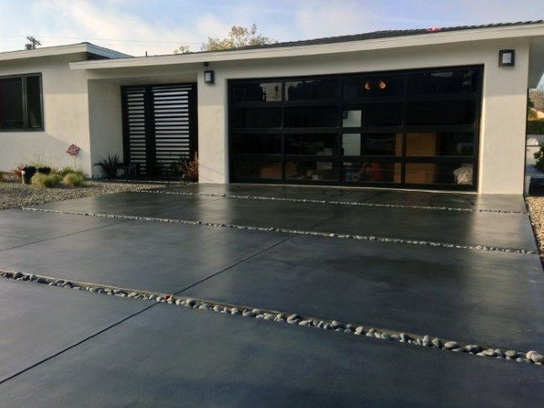 Concrete With Pebble Stone Driveway Ideas