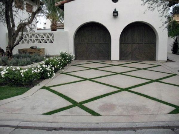 Grass And Concrete Checkered Driveway Ideas