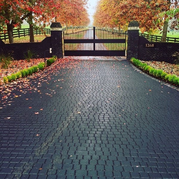 Black Paver Driveway Ideas With Gated Entrance