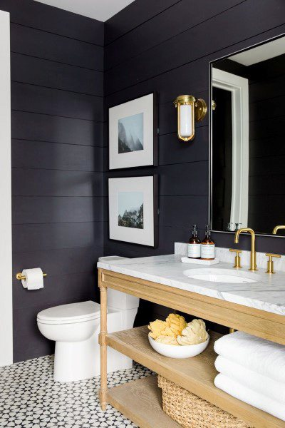 Half Bath Ideas With Dark Shiplap Walls And Pattern Tile