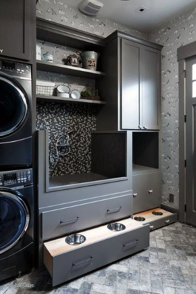 Gray Mosaic Tile Home Dog Station Station Ideas